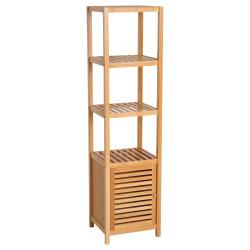 HOMCOM Estantes de bambu para o banheiro Armário alto Livraria Organizador 4 Níveis 1 Porta 36x33x140cm