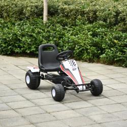 HOMCOM Go Kart a Pedais para Crianças acima de 3 Anos Carro de Pedais Infantil com Assento Ajustável e Freio de Mão 104x66x57cm Branco e Preto