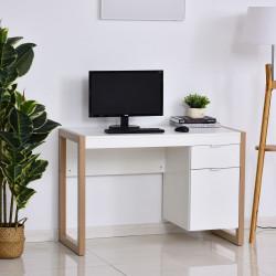 HOMCOM Mesa de escritorio com gaveta Armário Pés retangulares 112,5x50x75,5 cm Branco