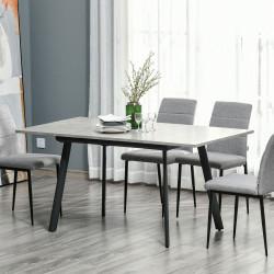 HOMCOM Mesa de Sala de Jantar Retangular Mesa de Cozinha Extensível para 4-6 Pessoas com Pés de Metal e Almofadas Ajustáveis 160x80x76cm Cinza