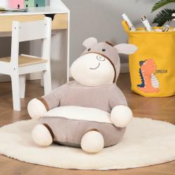 HOMCOM Mini sofá infantil para crianças acima de 18 meses em forma de burro com assento acolchoado 60x55x60cm cinza