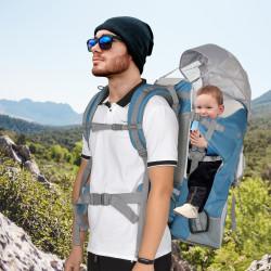 HOMCOM Mochila porta bebê acima de 6 meses dobrável ajustável com coberta carga 18kg cinza e azul