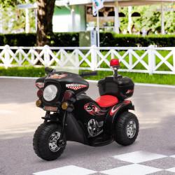 HOMCOM Motocicleta elétrica para crianças acima de 18 meses com faróis buzina música 80x35x52 cm Preto