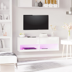 HOMCOM Móvel de parede para TV Armário suspenso com luzes LED com controle remoto 120x35x40,5 cm Carga 30 kg para sala de estar Quarto branco