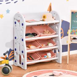 HOMCOM Organizador de Brinquedos para Crianças com 6 Caixas para quarto Sala de Jogos Creche 76x36x92cm Coral e Branco