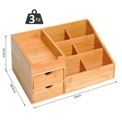 HOMCOM Organizador para Secretária de Bambu Sistema de Secretária Organizador de Mesa de Escritório Polivalente 33x20,5x15,5 cm