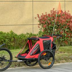 HOMCOM Reboque de Bicicleta para Crianças acima de 18 Meses 2 em 1 Carrinho de Passeio de 2 Lugares com Guidão de Altura Ajustável Barra Bandeira e Refletores 160x83x96cm Vermelho e Preto
