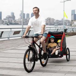 HOMCOM Reboque de criança 3 em 1 de 2 lugares para crianças acima de 6 meses Dobrável com barra rodas giratórias e guiador ajustável 150x85x107cm Vermelho