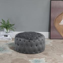 HOMCOM Tamborete estofado em veludo com botões Apoio para os pés acolchoado macio de desenho vintage Φ60x33 cm cinza escuro