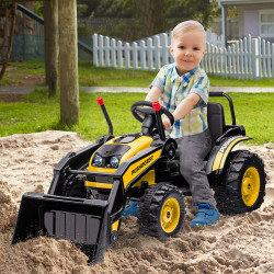 HOMCOM Trator Escavadeira Elétrica para Crianças acima de 3 Anos Veículo Infantil com Pá Bateria 6V Música e Luzes 132x62x65 cm Preto e amarelo