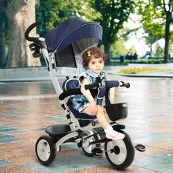 HOMCOM Triciclo de Bebé Dobrável 4 em 1 para Crianças +18 Meses Assento Giratório Capota Barra Desmontável