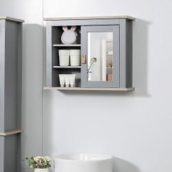 Kleankin Armário de banheiro com espelho Armário auxiliar de parede com 1 porta e prateleiras ajustáveis amplo Espaço de armazenamento para cozinha 60x19x49 cm Cinza