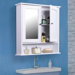 kleankin Armário de banheiro com parede de espelho com 2 portas 3 níveis de armazenamento de parede cor branco 56x13x58cm