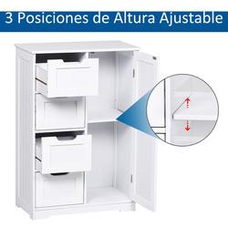 kleankin armário de madeira para o banheiro ou entrada de móveis de madeira moderno organizador 1 portas e 4 gavetas cor branca 56x30x83cm