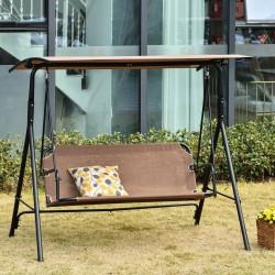 Outsunny Balanço de jardim de 2 lugares com guarda-sol Telhado com ângulo ajustável para Terraço Varanda Carga 200 kg 172x110x155 cm Marrom
