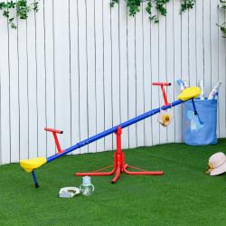 Outsunny Balanço giratória 360º para crianças acima de 3 anos com base de 4 hastes, postes de parada e alças de fácil aderência Jardim Pátio 182x77x43 cm Multicolor