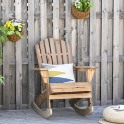 Outsunny Cadeira de balanço de madeira natural Adirondack para jardim terraço externo rústico Carga 130 kg 77x94x97 cm Cor Teca