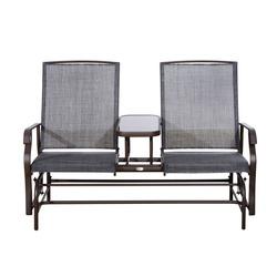 Outsunny Cadeira de Balanço Dupla de Jardim ou Terraço - Metal e Tubo de Textilene - 81x148x100cm
