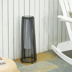 Outsunny Candeeiro de chão de vime alimentado a energia solar com LED 1,5 W interruptor de controle automático de luz Decoração exterior Ø21,5x61 cm Preto