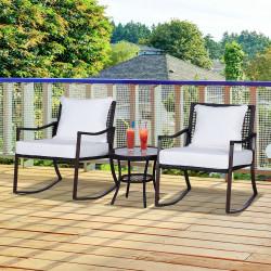Outsunny Conjunto de Jardim vime com Mesa de Vidro Temperado Ø51x46cm e 2 Cadeiras de Balanço 65,5x73,5x84,5cm com Almofadas Laváveis Zíper e Travesseiros Branco e marrom