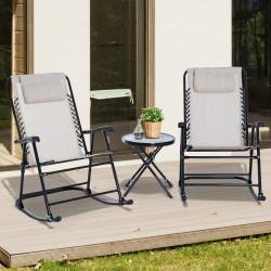 Outsunny Conjunto de móveis de jardim, mesa redonda Ø46x49 cm e 2 cadeiras de balanço 68x90x106 cm dobrável com fechadura para pátio externo Bege