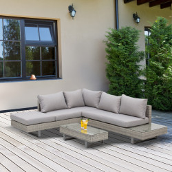 Outsunny Conjunto de móveis de vime de 3 peças, mesa de centro, sofá duplo e sofá de 3 lugares com almofadas removíveis para terraço jardim e pátio Aço Cinza