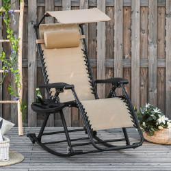 Outsunny Espreguiçadeira de balanço de jardim dobrável reclinável com toldo de proteção solar Estrutura de aço 120x67x102 cm Bege escuro
