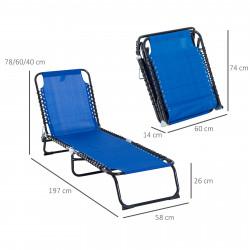 Outsunny Espreguiçadeira de jardim reclinável dobrável e ajustável com 3 posições com sistema de laço Estrutura de Aço 197x58x76 cm azul escuro