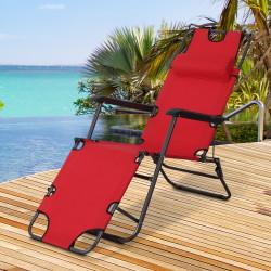 Outsunny Espreguiçadeira Reclinável e Dobrável com Encosto Ajustável Apoio de Braço e Apoio para os Pés Carga 136 kg 135x60x89 cm vermelho
