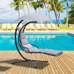 Outsunny Espreguiçadeira suspensa com guarda-sol e almofada de exterior 194x117x192 cm