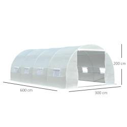 Outsunny Estufa de jardim Tipo de túnel com 8 janelas e tampa de polietileno 600x300x200 cm Branco