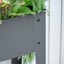 Outsunny Floreira de metal elevado Cama de jardim sobre rodas Alça lateral e prateleira inferior 104x39x80 cm cinza