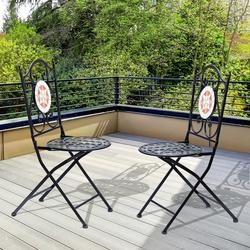 Outsunny Kit de 2 Cadeiras Dobráveis de Jardim Bistrô Cadeira Assento Mosaico para Terraço Varanda Aço Carga 120kg