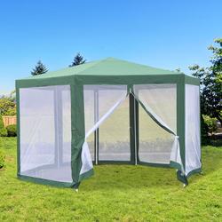 Outsunny Tenda do Jardim com rede mosquiteira Verde Poliéster 390 x 250 cm