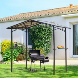 Outsunny Tenda pérgula paraChurrasqueira 246x149x230 cm de alumínioGazebo com 2 Prateleiras para Jardim Pátio Terraço Proteção Solar Preto