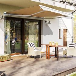 Outsunny Toldo exterior manual em alumínio dobrável com ângulo e manivela ajustáveis para varanda com terraço e jardim - 2.95x2.5m