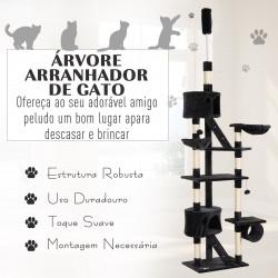 PawHut Árvore arranhador para Gatos com Altura Ajustável Plataformas Múltiplas Caverna Cestas e Escadas em Sisal Natural e Pelúcia 60x45x240-260 cm Cinza Escuro