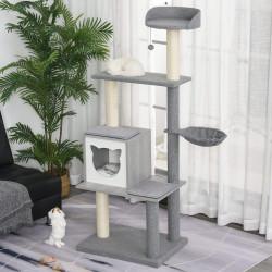 PawHut Árvore para gato com rede caverna postes raspadores Bola 61x49x160.5 cm Cinza