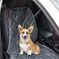PawHut Capa de Assento Dianteiro de Carro para Cães Protetor Antiderrapante com Fixação e Correia Envolvente para Caminhões Furgões SUV 105x46cm Cinza