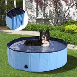 PawHut Piscina ou Banheira para Cães e Gatos Azul PVC Φ 100 x 30 cm