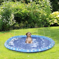 PawHut Splash Pad Tapete aquático com pulverizador 170 cm Tapete anti-respingos Piscina portátil de verão para cães azul