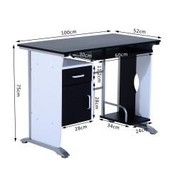 Secretária para Computador PC Gabinete Secretária 100 x 52 x 75 cm Escritório Mobiliário Madeira