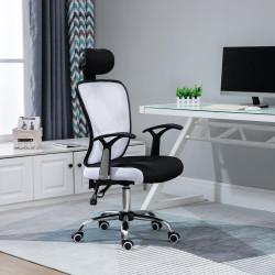 Vinsetto Cadeira de Escritório Ergonômica Cadeira de Escritório Giratória com Altura Ajustável Função Reclinável Apoio para a Cabeça e Suporte Lombar 65x67x108-118cm Branco