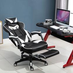 Vinsetto Cadeira de escritorio gaming ergonômica Altura Ajustável reclinável com apoio para pés Branco e Preto