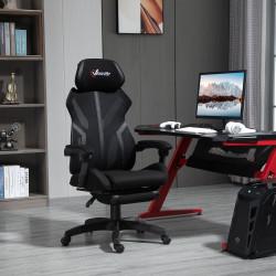 Vinsetto Cadeira de Gaming com Apoio para os Pés Retrátil Cadeira de Escritório Reclinável com Apoio para a Cabeça e Altura Ajustável 65x65x119-129cm Preto