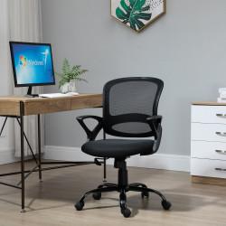 Vinsetto Cadeira de Oficina Ergonômica Basculante com Altura Ajustável Assento Giratório 360° Suporte e Lombar Malha Transpirável 61x61x89-99cm Preto