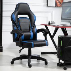 Vinsetto Cadeira gaming para escritório giratório reclinável, suporte lombar, azul 64x69x119-129 cm