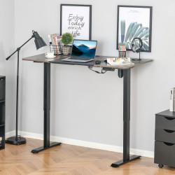 Vinsetto Secretária elétrica de pé com ajuste elétrico de altura com 4 teclas de memória para casa escritório 140x70x72-116 cm preto e Madeira natural