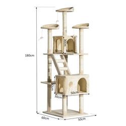Arranhador para Gatos tipo Centro de Atividade com Árvore e Poste para Arranhar– Cor: Bege - 60 x 50 x 180 cm