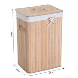 HomCom® Cesto para Roupa Suja Dobrável com Tampa Cesta de Lavandaría Retangular Bambú 70L com Asas 40x30x60cm